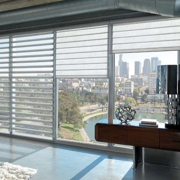 Luxaflex window blind in a lounge setting. They are versatile and stylish.