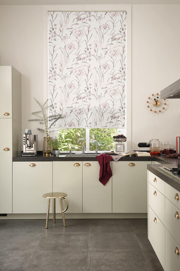 Luxaflex Roller Blinds in a High Ceiling Kitchen by Mirmac