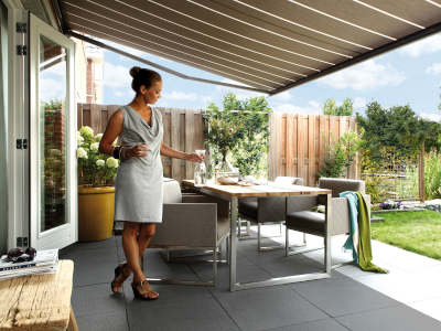 Patio awning canopy and outdoor dining area