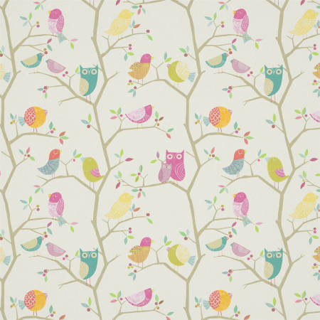 Harlequin wallcovering featuring pretty, hand drawn owls