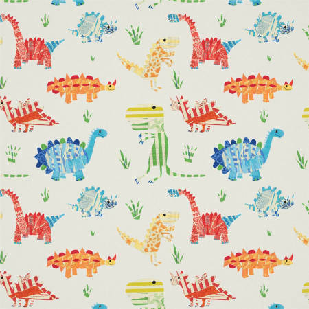 Fabric and wallpaper for kids featuring a dinosaur pattern