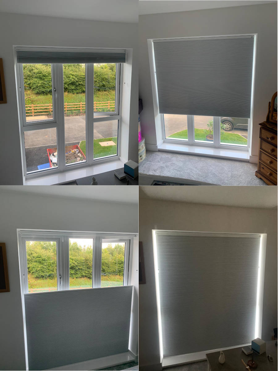 four images combined showing Duette window blinds open and close in various positions