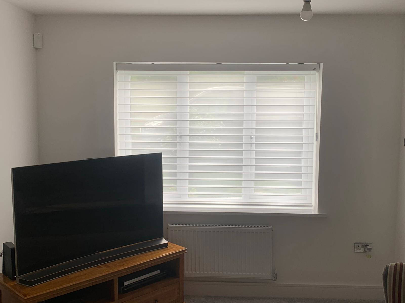 lounge with tv in corner and white window blind
