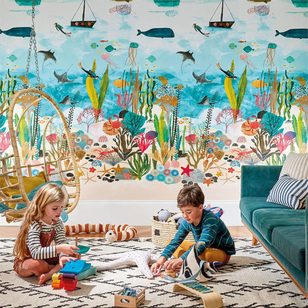 'Above and Below' wallcovering shows a stunning seascape mural to entertain children